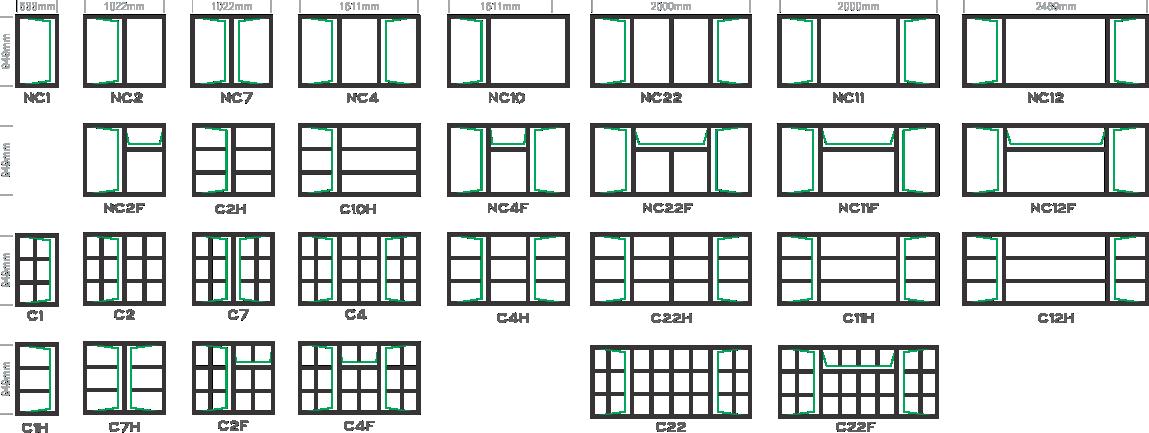 C Type Window Frames